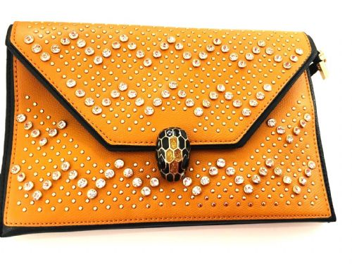 The Kikki Tan Gem & Snake Head Clutch
